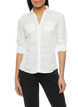 Poplin Button Front Shirt with Rib Knit Panels - IVORY - 1004051061377