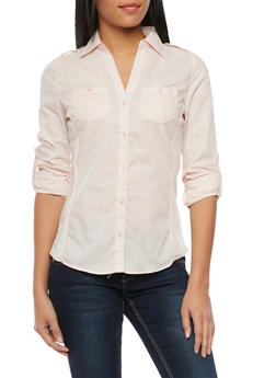 Poplin Button Front Shirt with Rib Knit Panels - BLUSH - 1004051061377
