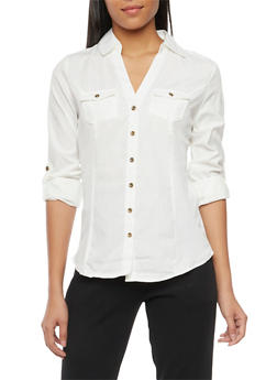 Button Front Shirt with Rib Knit Panels - IVORY - 1004051061381