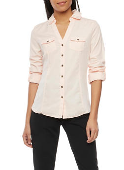 Button Front Shirt with Rib Knit Panels - BLUSH - 1004051061381