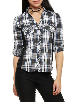 Button Up Plaid Top with Ribbed Panel Sides - BLK/WHT/BLUE - 1004051061382