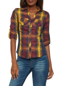 Button Up Plaid Top with Ribbed Panel Sides - MUSTARD/NAVY/RED - 1004051061382