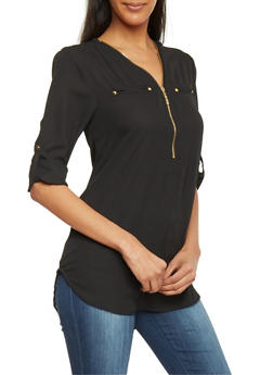 Zip Up V Neck 3/4 Sleeve Top - 1004051066759