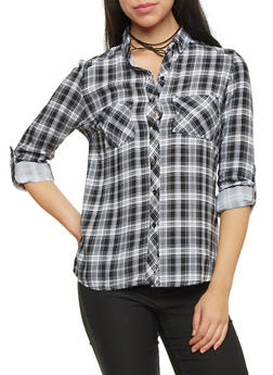 Plaid Button Up Top with Roll Tab Sleeves - 1004051068390