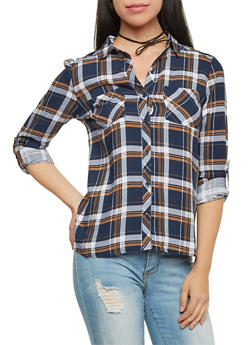 Plaid Button Up Top with Roll Tab Sleeves - NAVY/IVY/GOLD - 1004051068390