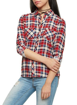 Plaid Button Up Top with Roll Tab Sleeves - RED/BLK/BLUE - 1004051068390