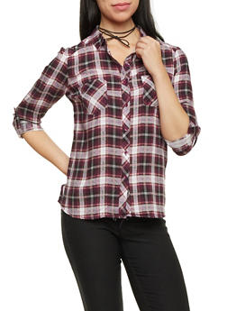 Plaid Button Up Top with Roll Tab Sleeves - BLK/BURG/MAUVE - 1004051068390