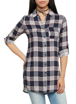 Plaid Tunic Top with Button Up Front - 1004051068458