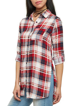 Plaid Tunic Top with Button Up Front - RUST/REDNAVY - 1004051068458