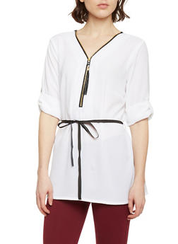 Belted Zip Up V Neck Top with 3/4 Rolled Cuff Sleeves - WHITE - 1004051068842