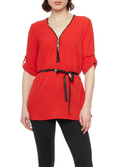 Belted Zip Up V Neck Top with 3/4 Rolled Cuff Sleeves - 1004051068842