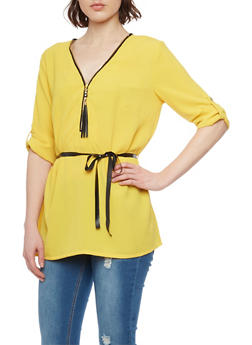 Belted Zip Up V Neck Top with 3/4 Rolled Cuff Sleeves - MUSTARD - 1004051068842