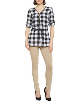 Belted 3/4 Tab Sleeve Checkered Top - BLACK/WHITE - 1004051068843