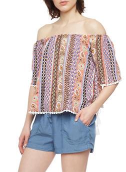 Off The Shoulder Patterned Boho Top with Crochet Trim - 1004051068879