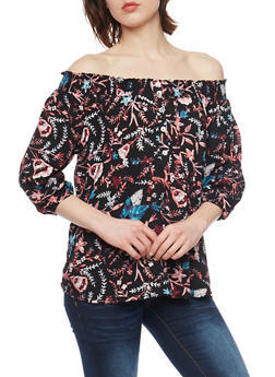 Floral Off The Shoulder Button Up Top with Smocked Neckline - 1004051068929
