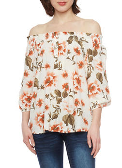 Floral Off The Shoulder Button Up Top with Smocked Neckline - IVORY - 1004051068929