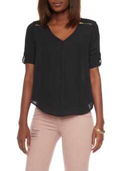 Zip Shoulder V Neck Top with Rolled Cuff Sleeves - 1004051069113