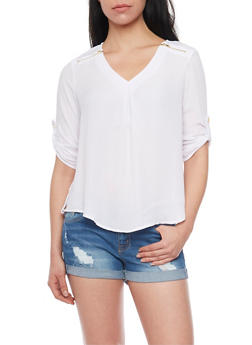 Zip Shoulder V Neck Top with Rolled Cuff Sleeves - WHITE - 1004051069113