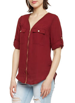 Zip Front Chiffon Top with Tabbed Sleeves - BURGUNDY - 1004051069180