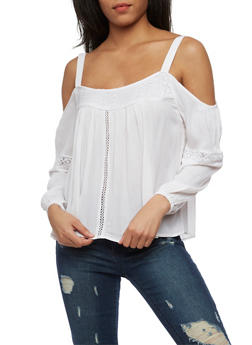 Gauze Knit Cold Shoulder Top with Crochet Inserts - 1004051069197