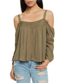 Gauze Knit Cold Shoulder Top with Crochet Inserts - OLIVE - 1004051069197