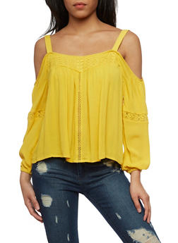 Gauze Knit Cold Shoulder Top with Crochet Inserts - MUSTARD - 1004051069197