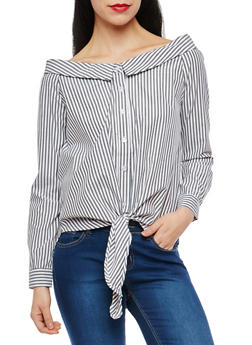Off the Shoulder Button Front Top - 1004051069606