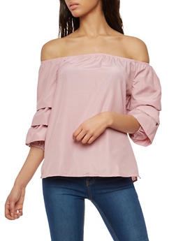 Tiered Sleeve Off the Shoulder Top - 1004051069706