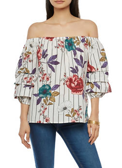 Tiered Sleeve Floral Off the Shoulder Top - 1004051069707