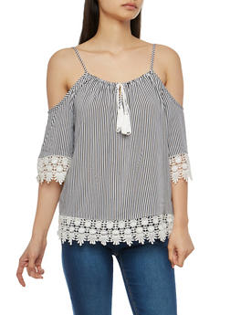 Crochet Trim Striped Off the Shoulder Top - 1004051069881