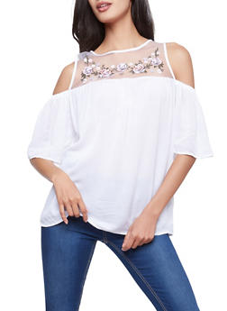 Embroidered Mesh Cold Shoulder Top - 1004051069932