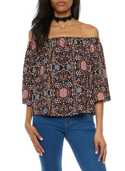 Off the Shoulder Printed Top with Flared Sleeves - 1004054262568