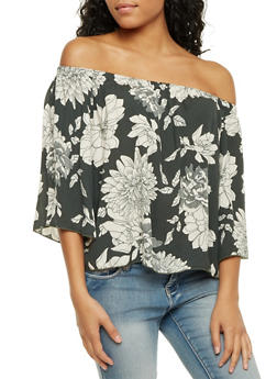 Off the Shoulder Top with Floral Print - OLIVE - 1004054265617