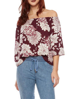 Off the Shoulder Top with Floral Print - BURGUNDY - 1004054265617