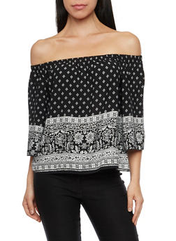 Off The Shoulder Top with Floral Print - 1004054265620