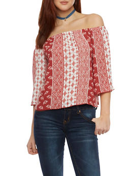 Off The Shoulder Top with Paisley Print - 1004054265622
