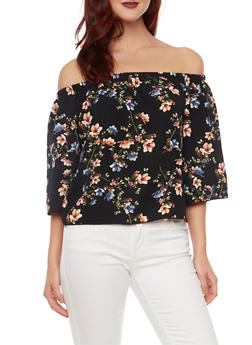 Off the Shoulder Swing Top in Floral Print - 1004054265623