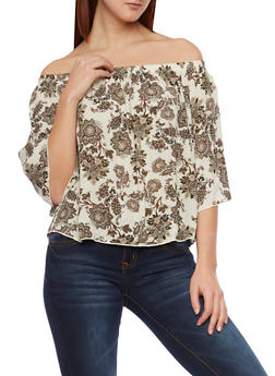 Printed Off the Shoulder Top - 1004054265624