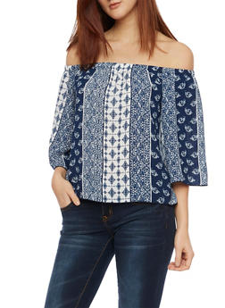Off the Shoulder Top with Mixed Print - 1004054265627