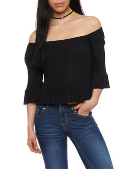 Off the Shoulder 3/4 Sleeve Top with Flounce Hem - 1004054265839
