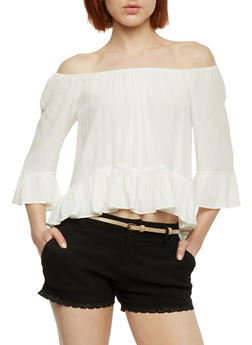 Off the Shoulder 3/4 Sleeve Top with Flounce Hem - OFF WHITE - 1004054265839