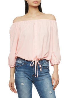 Off The Shoulder Button Front Top with 3/4 Sleeves - 1004054265840