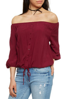 Off The Shoulder Button Front Top with 3/4 Sleeves - BURGUNDY - 1004054265840