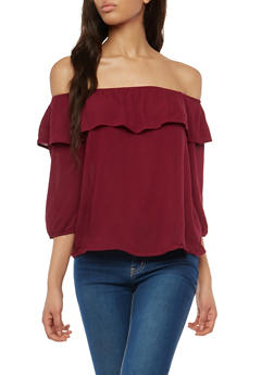 Off the Shoulder Ruffle Overlay Top - 1004054266982