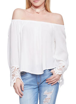 Long Sleeve Off The Shoulder Peasant Top with Crochet Trim - OFF WHITE - 1004054268501