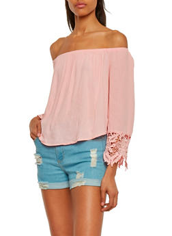 Long Sleeve Off The Shoulder Peasant Top with Crochet Trim - BLUSH - 1004054268501