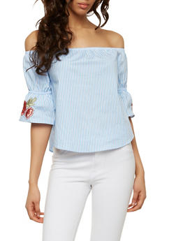Striped Off the Shoulder Top - 1004054268990