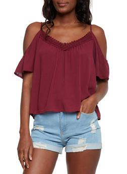 Gauze Knit Cold Shoulder Peasant Top - 1004054269233