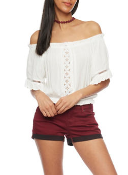 Off The Shoulder Crop Top with Crochet Cutout Accents - OFF WHITE - 1004054269237