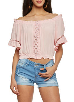 Off The Shoulder Crop Top with Crochet Cutout Accents - BLUSH - 1004054269237